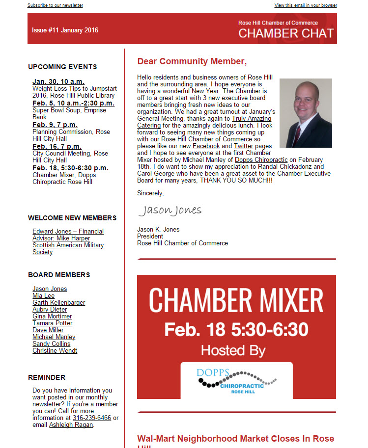 Rose Hill Chamber Chat Issue #11
