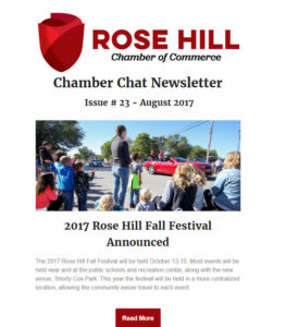 Rose Hill Chamber Chat Newsletter - August 2017
