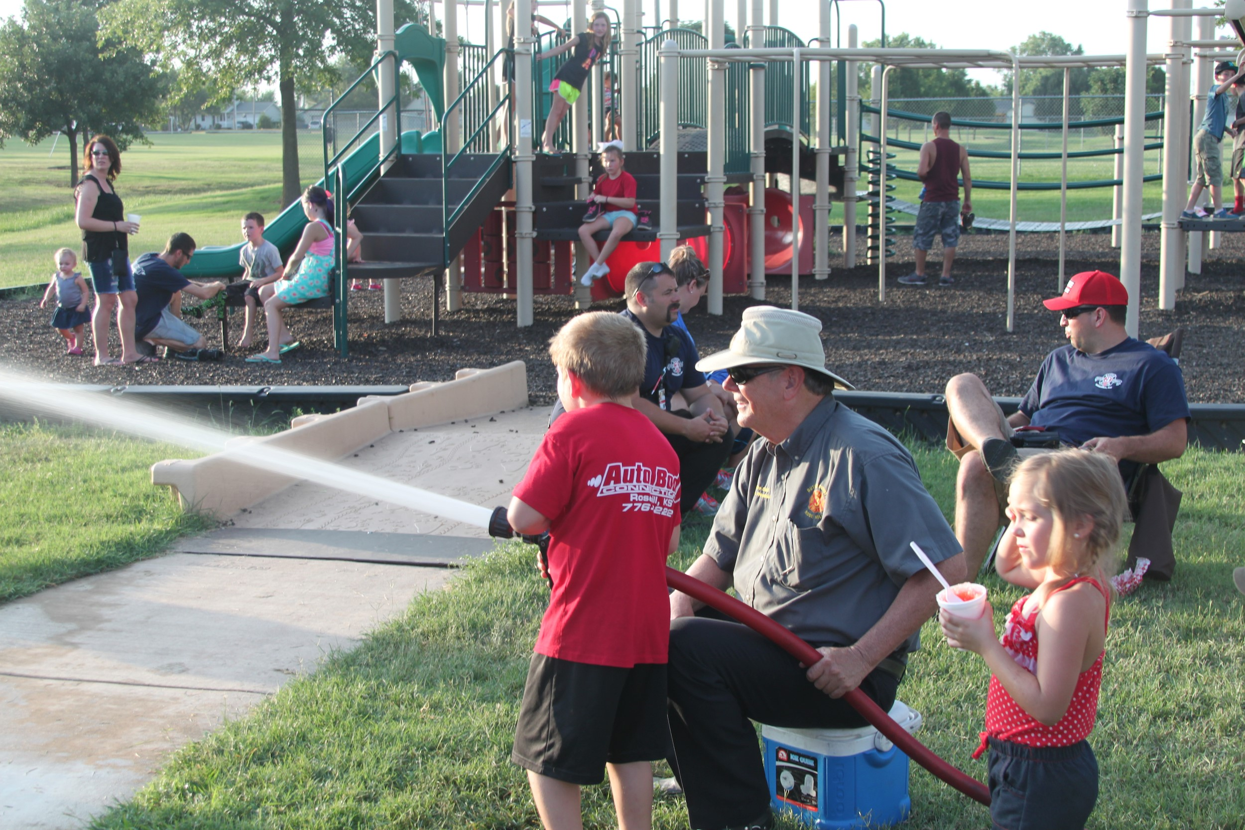 The Rose Hill community joined together for fun events with the police and fire departments.