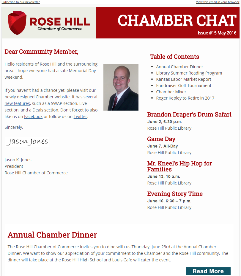 Chamber Chat Newsletter #15 - May, 2016
