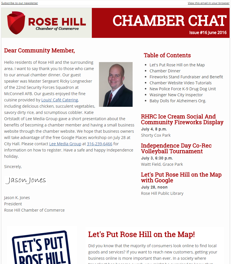 Chamber Chat Newsletter #16 - June, 2016