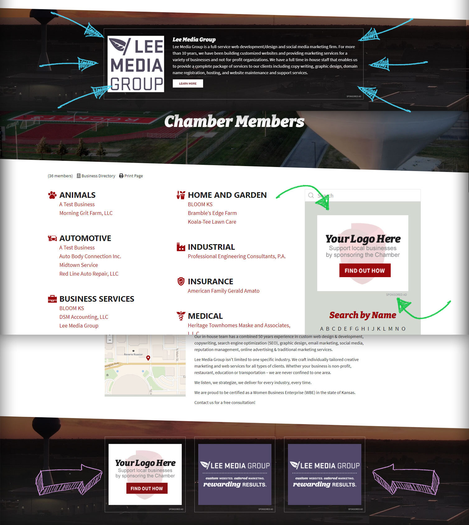 We have several pricing options for sponsorship ads on the Rose Hill Chamber Website.