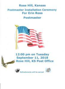 Postmaster Installation Ceremony @ Rose Hill Lobby   401 N Rose Hill Rd   Kansas