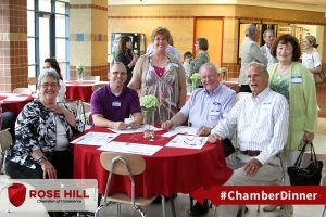 Mayor Beth Pompa and City Administrator Austin Gilley socialize with Rose Hill businesses and residents.